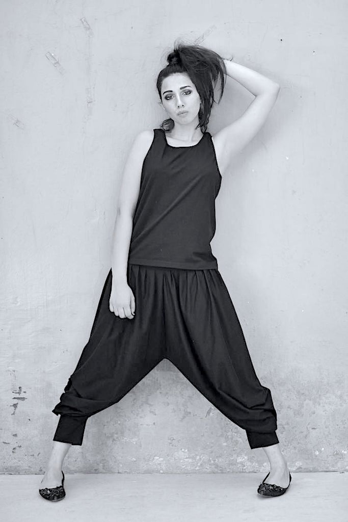 Juliet, All Black Outfit, Harem Pants with a Singlet and Wrap Blouse - shopkaito