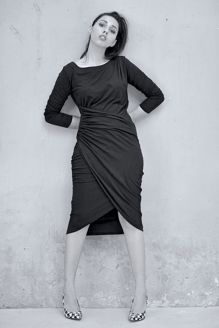 Elvira Asymmetrical Faux Wrap Dress in Black Organic Fabric - kinchecom