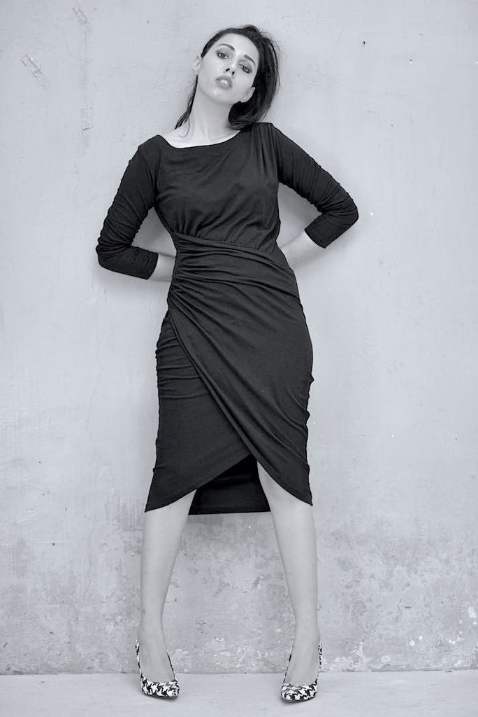 Elvira Asymmetrical Faux Wrap Dress in Black Organic Fabric - shopkaito