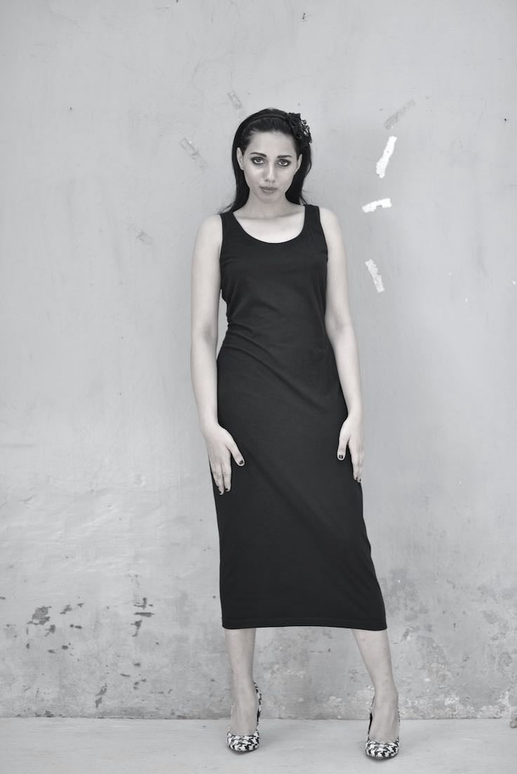 Kaali, Sustainably Made Fitted Dress with a Loose Sweat Top, Side Ties - shopkaito