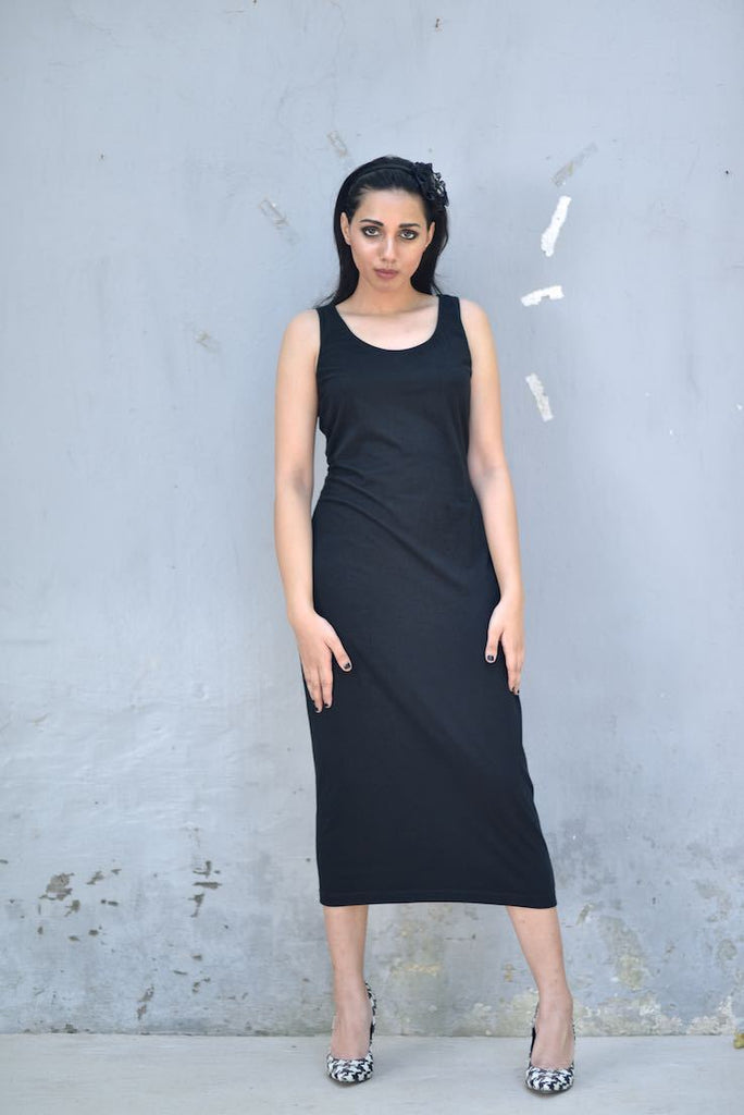 Fitted Calf length Dress, Organic Jersey Fabric, Sustainably Made/ Mix & Match - kinchecom