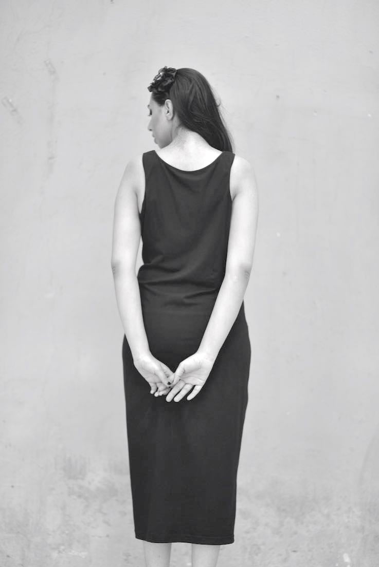 Kaali, Sustainably Made Fitted Dress with a Loose Sweat Top, Side Ties - kinchecom