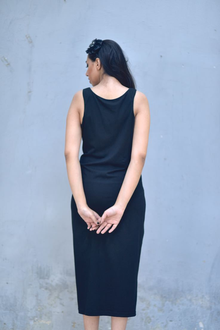 Fitted Calf length Dress, Organic Jersey Fabric, Sustainably Made - kinchecom