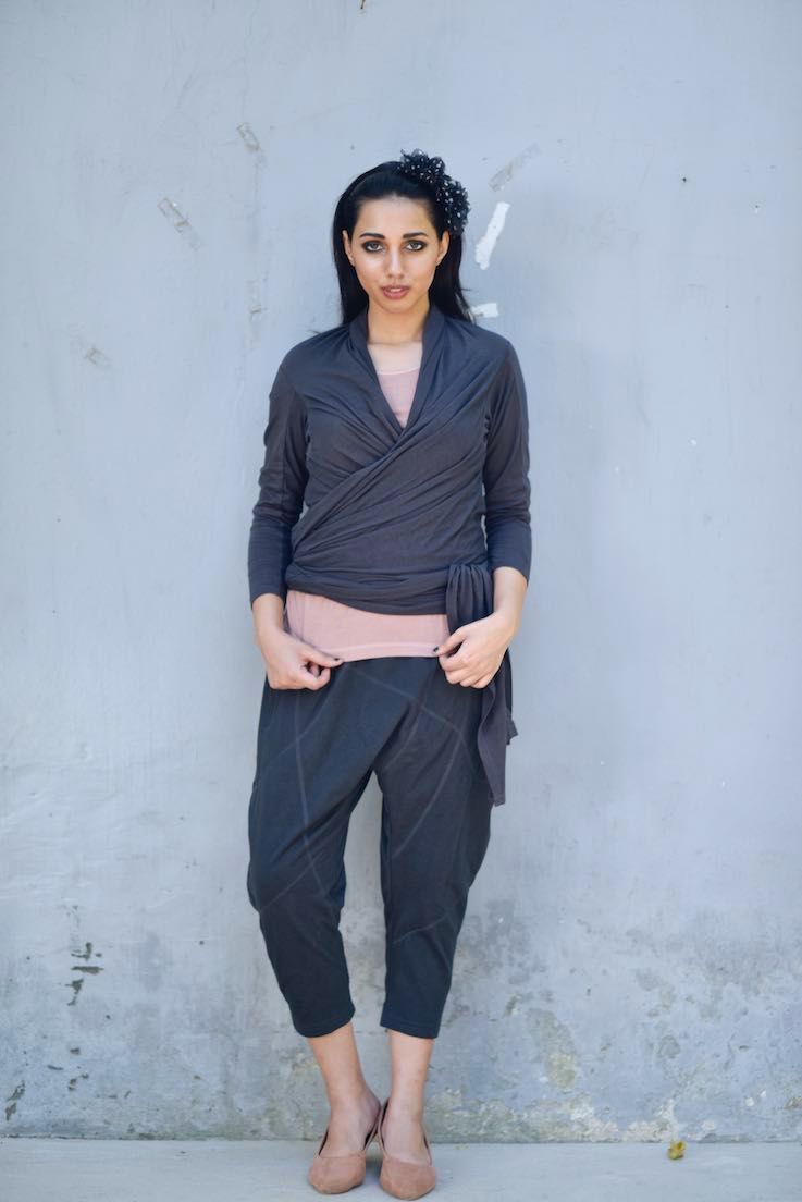 Layla, Quilted Drop Crotch Pants with a Tank Top and a Wrap Blouse - shopkaito