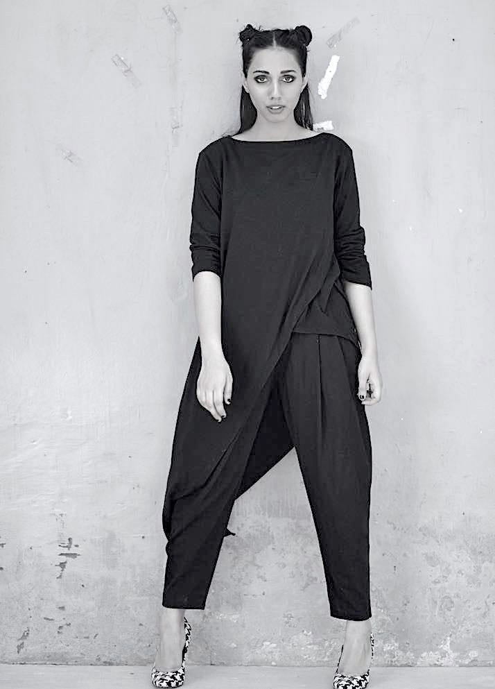 Luna, Asymmetrical Blouse, Hem length with Slouchy Pants - shopkaito