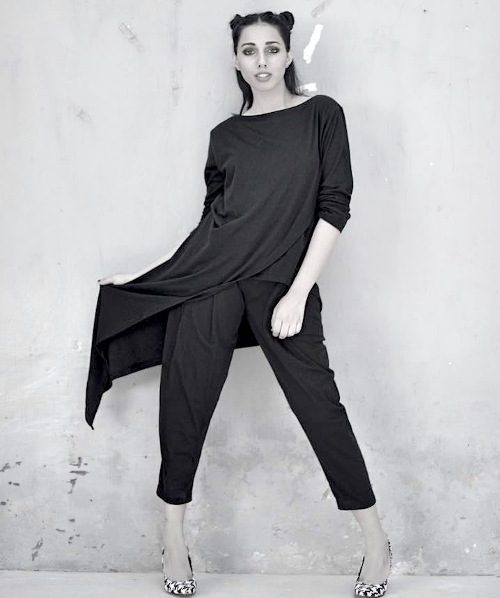 Luna, Asymmetrical Blouse, Hem length with Slouchy Pants - kinchecom
