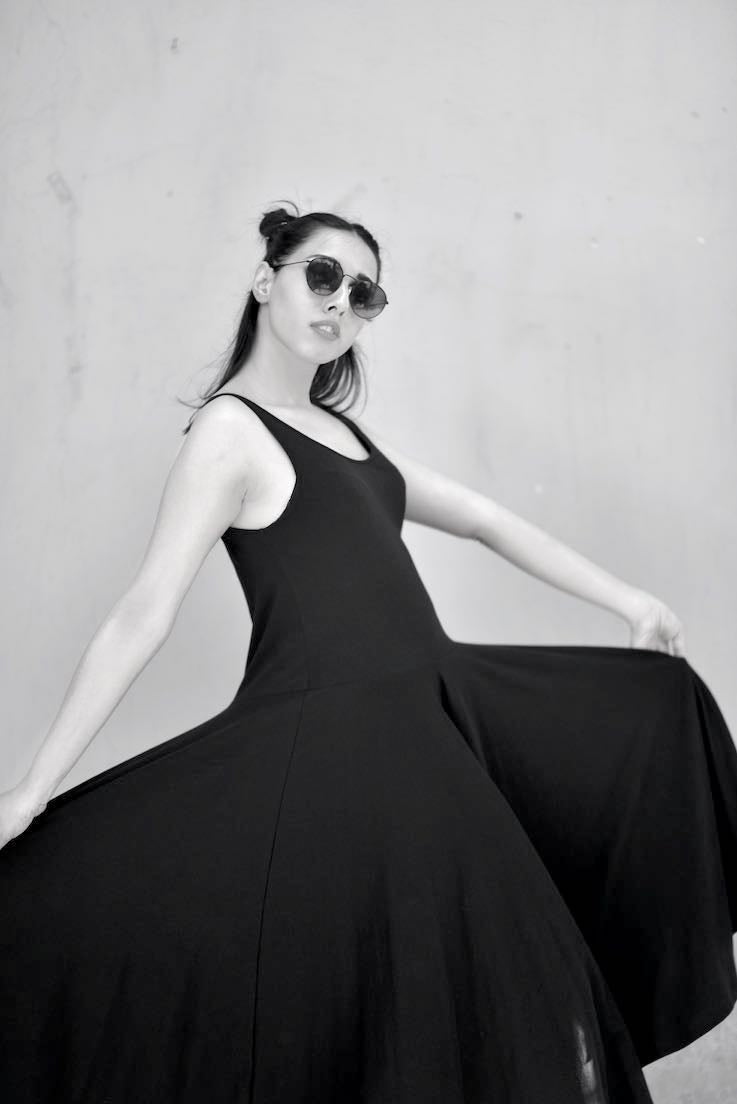 Black Rose, Flared Dress With Glass Shaped Long Jumper, Organic Cotton Lycra - kinchecom
