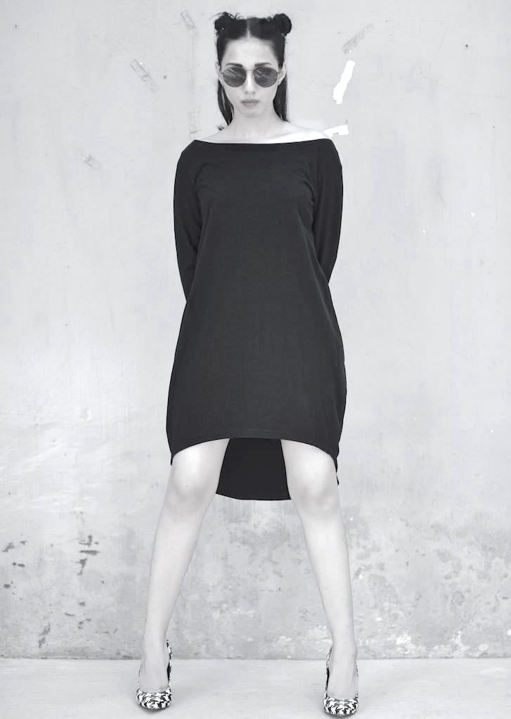 Black Rose, Flared Dress With Glass Shaped Long Jumper, Organic Cotton Lycra - shopkaito