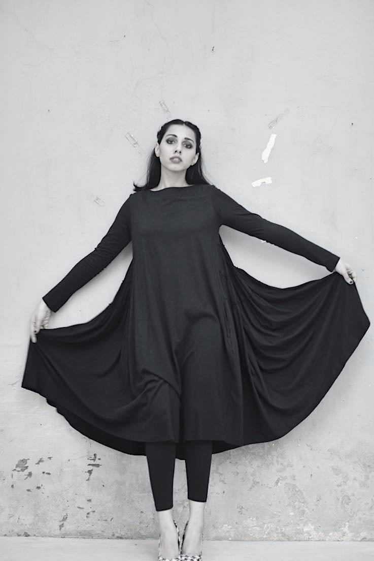 Philomena, Oversized Flared & Tiered Dress in Black, with Black Tights - shopkaito