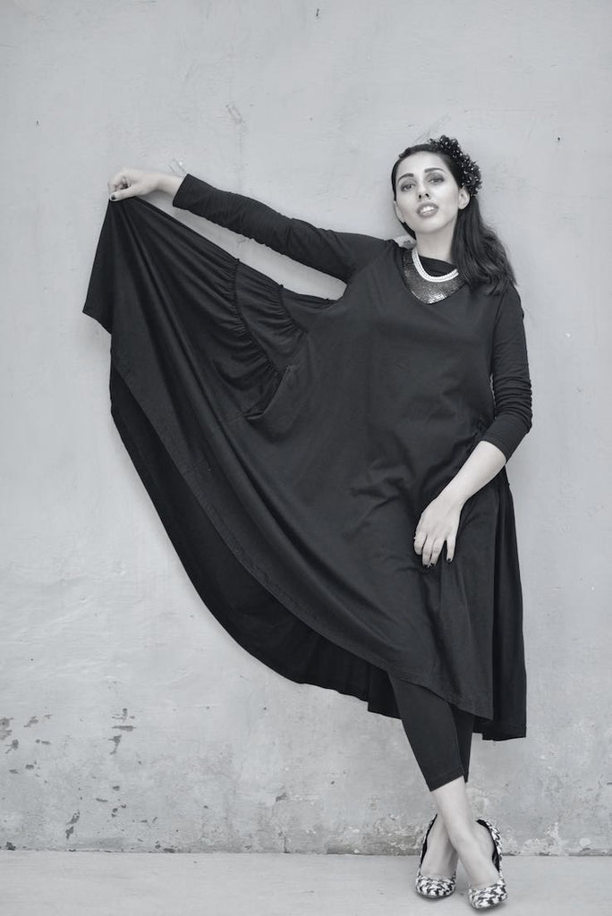 Philomena, Oversized Flared & Tiered Dress in Black, with Black Tights - kinchecom
