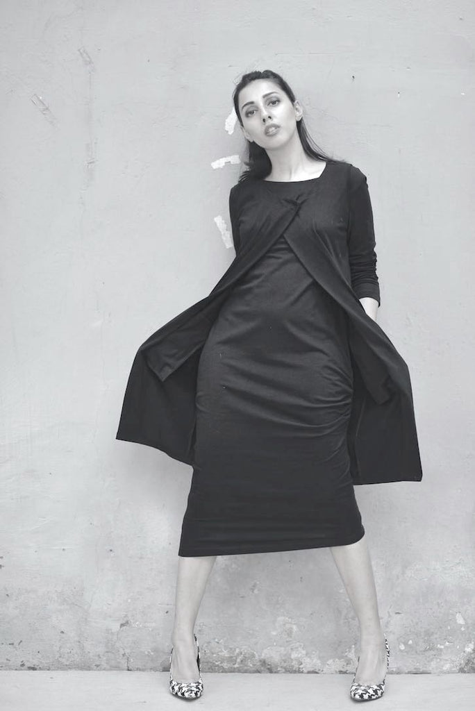 Scarlett, Side Gathered Dress + Sleeveless Jacket, Asymmetrical - kinchecom