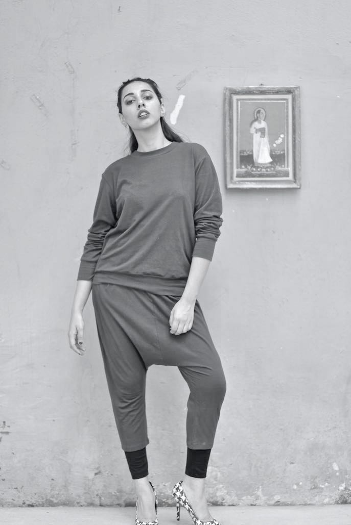 Hesperia, Drop Crotch, Harem Pants With Loose Fit Jumper & Tights