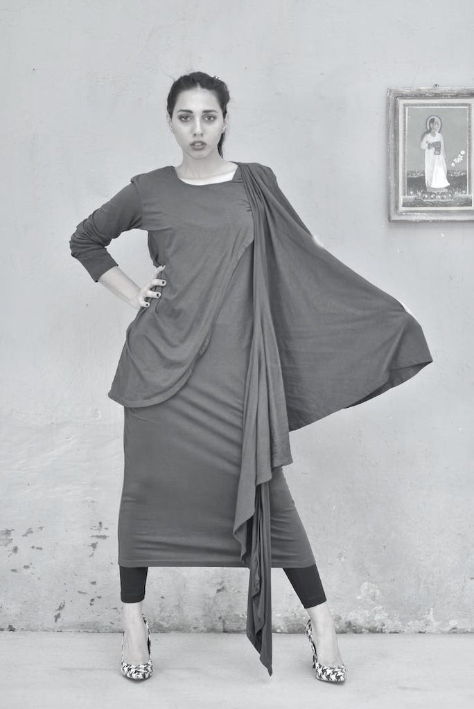 Ursula, Loose Fit Dress + Wrap Blouse/Tunic & Tights in All Black - kinchecom