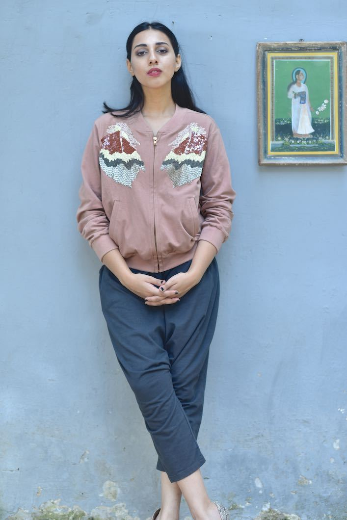 Baku, Organic Jersey Fabric Jacket with Hand Embroidery in Dusty Rose Color - kinchecom