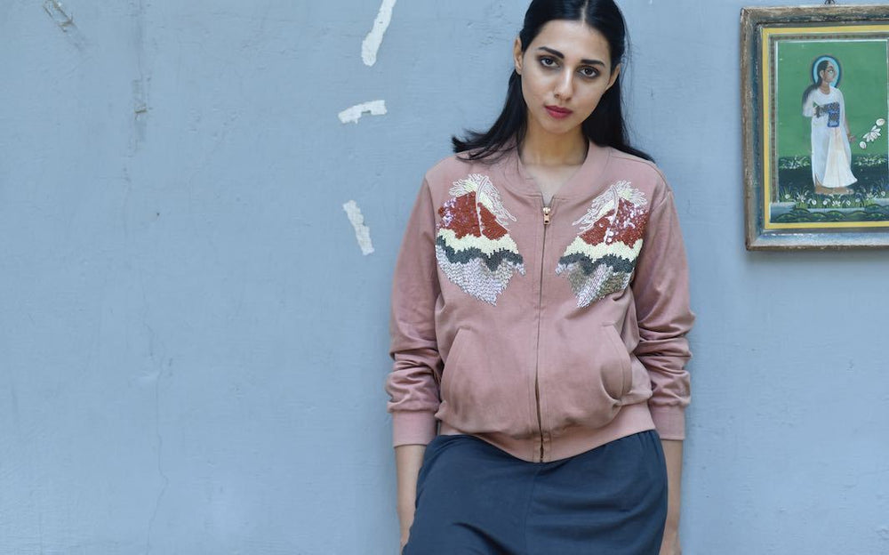 Baku, Organic Jersey Fabric Jacket with Hand Embroidery in Dusty Rose Color - shopkaito