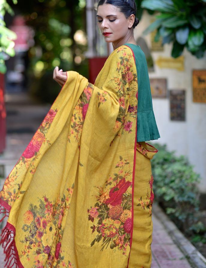 Dniper, Organic Linen Saree in a Beautiful Mustard Color Base with contrast Floral Print - kinchecom