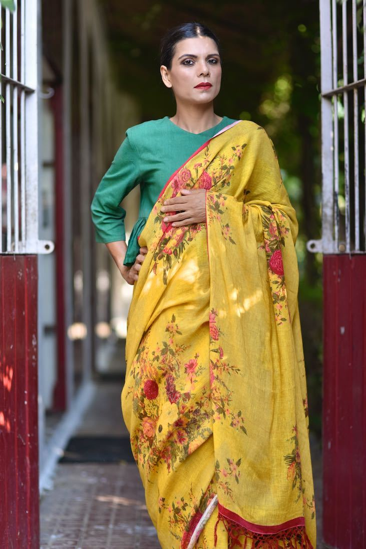 Dniper, Organic Linen Saree in a Beautiful Mustard Color Base with contrast Floral Print - shopkaito