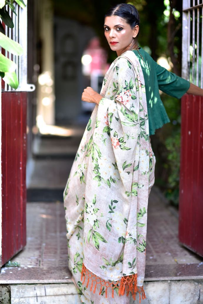 Pench, Organic Linen Saree with Floral Print and Tassels - shopkaito