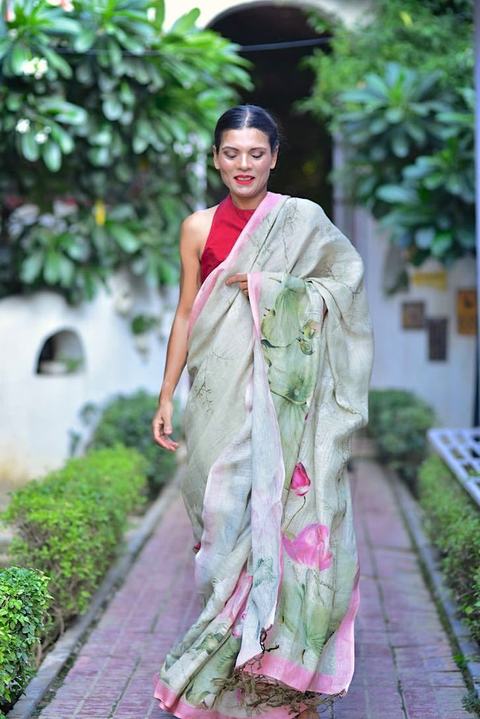 Kwari, Organic Linen Saree in Color Sage with LotusFloer Print - kinchecom