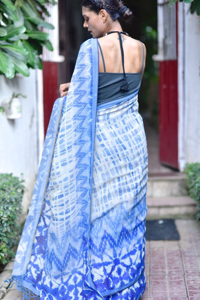 Aksu, Organic Linen Saree in a beautiful Tie and Dye Screen print - kinchecom