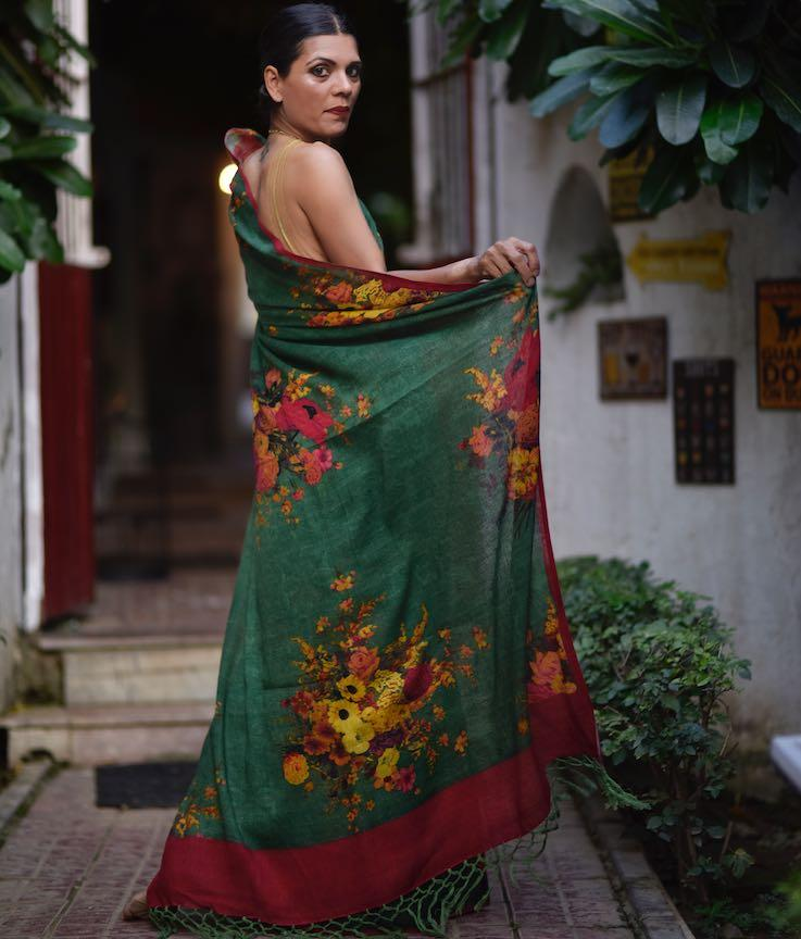 Irtysh, Organic Linen, Emerald Green Saree with a Contrast Blouse in Red - kinchecom