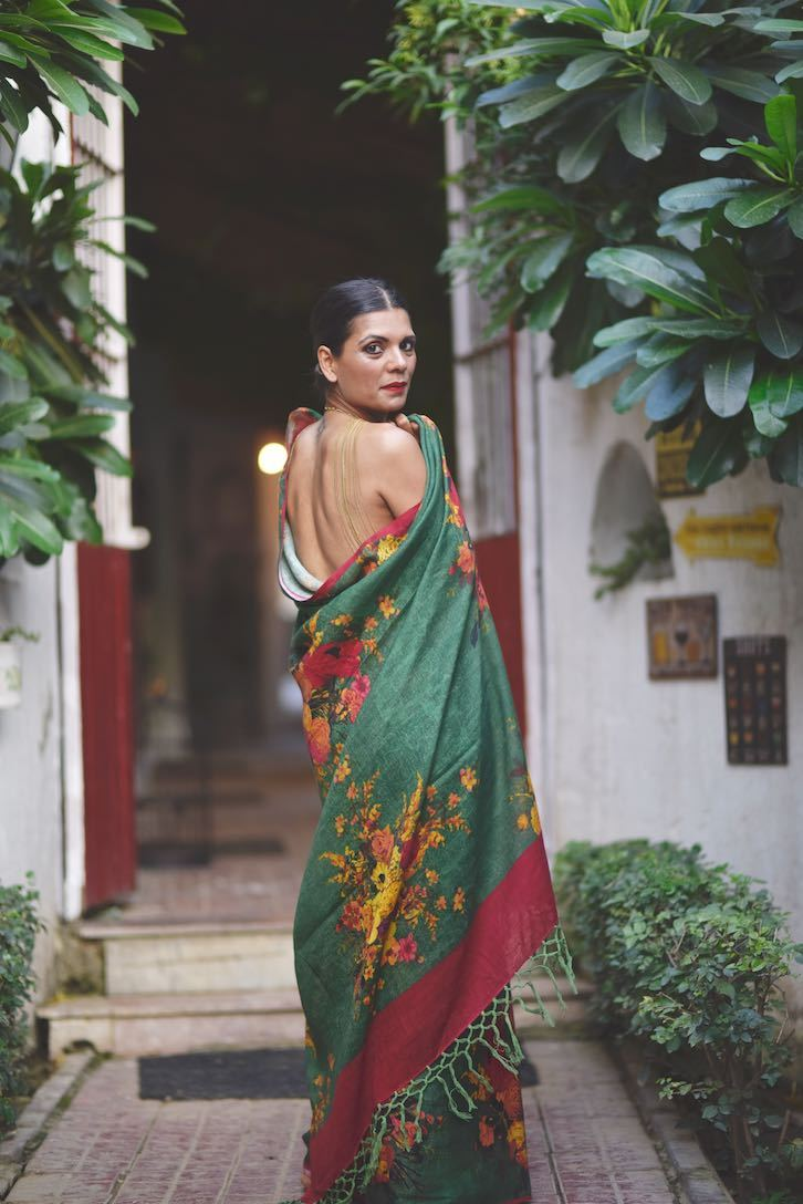 Irtysh, Organic Linen, Emerald Green Saree with a Contrast Blouse in Red - shopkaito