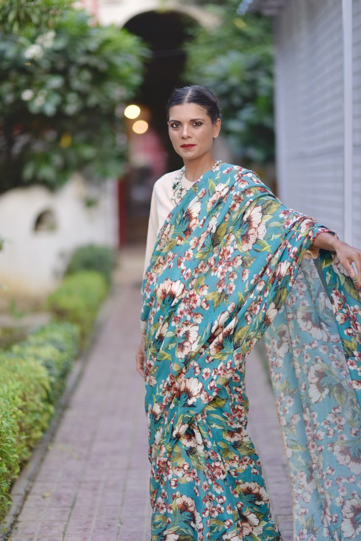 Periyar, Organic Linen, Beautiful Floral Print Saree in Turquoise & Pink - shopkaito