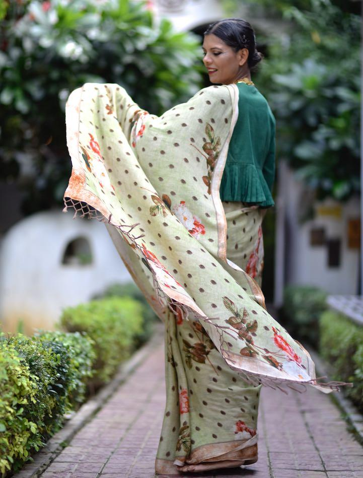Jhelum, Organic Linen Polka Dots and Floral Print Saree in Sage Green - kinchecom