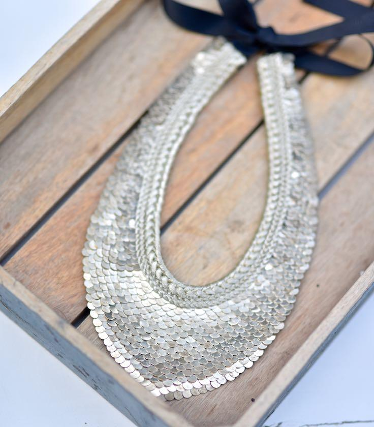 York, Handmade Pure Silver Brass and Zari Necklace - kinchecom