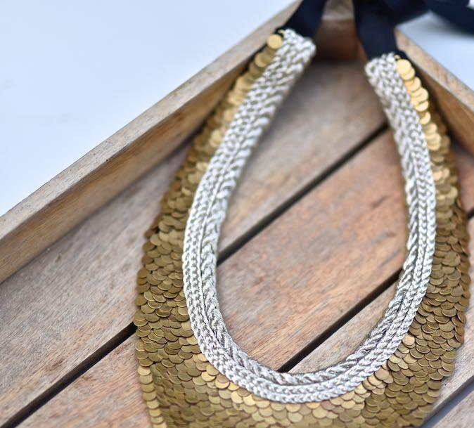 Porto, Handmade Pure Brass and Zari Necklace - kinchecom