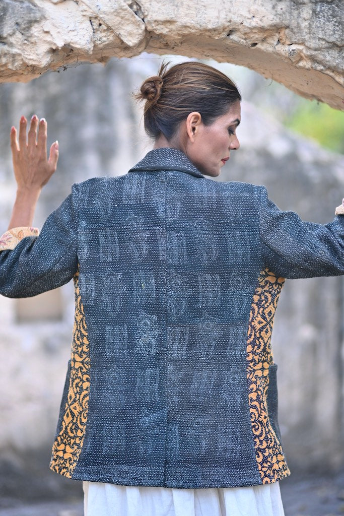 Large Size, Abraham, Boyfriend Blazer, Made with Vintage Kantha Fabric - kinchecom