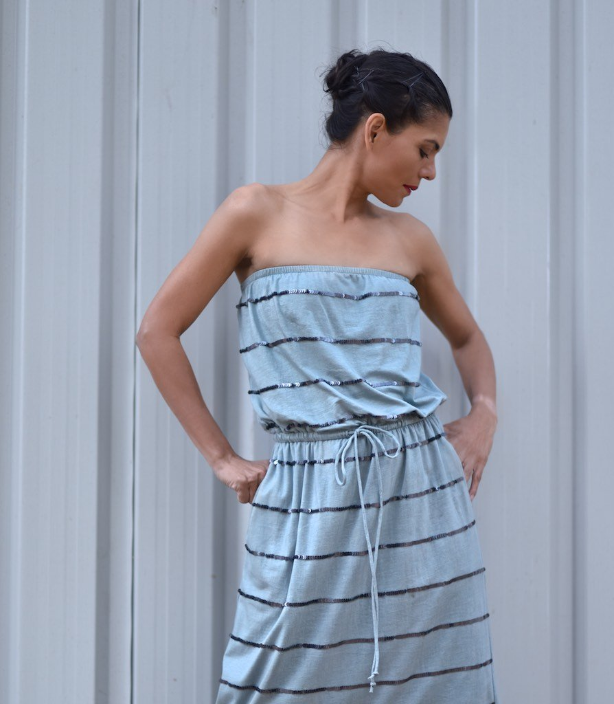 Warsaw, Organic Cotton Bare Shoulders Maxi Dress with Sequins in Vintage Blue Color - shopkaito