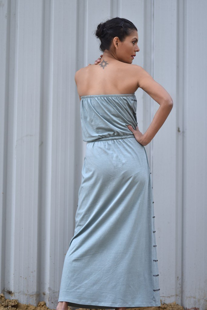 Warsaw, Organic Cotton Bare Shoulders Maxi Dress with Sequins in Vintage Blue Color - kinchecom