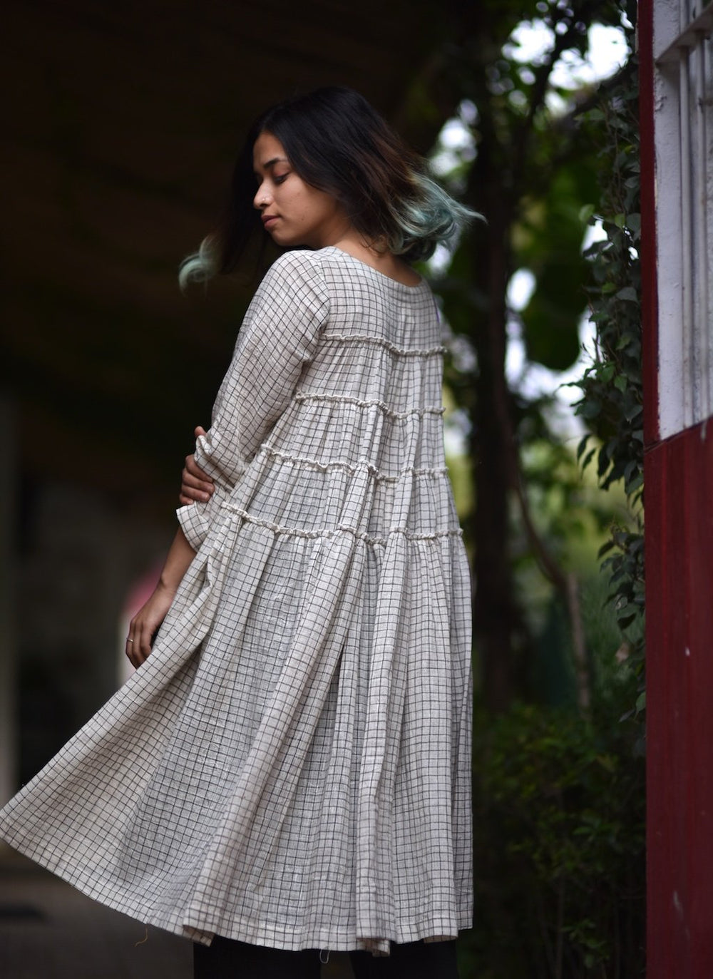 Philomena, Organic Cotton Flared Dress with Hand Embroidery + Charcoal Pants in Khadi, Handmade - kinchecom
