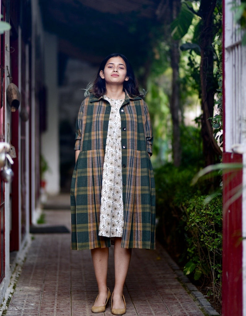 Kathmandu, Khadi Front Open Check Pattern Jacket with Floral Corum Dress, Sustainable Fashion - kinchecom