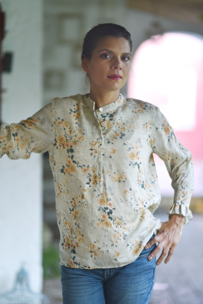 Colima, Hand Made Organic Linen Front Open Blouse - kinchecom