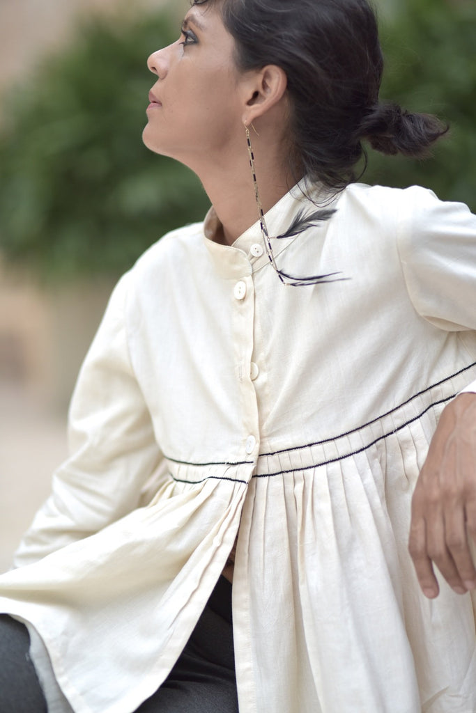 Dublin, Pure Khaadi Flared Cropped Blouse with Hand Embroidery, Off White - kinchecom