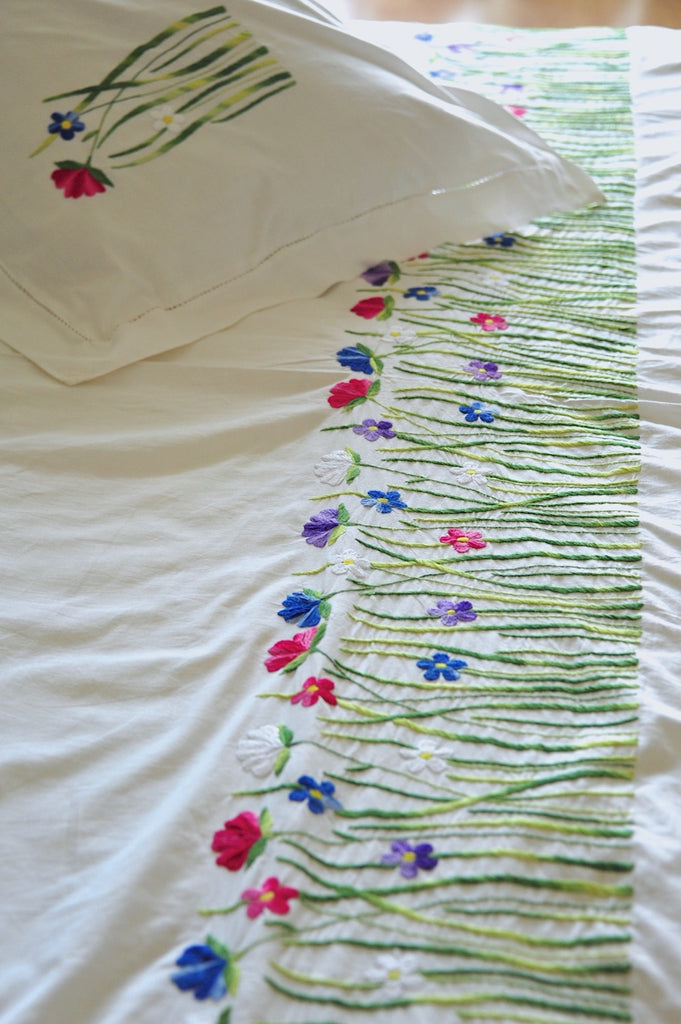 Hand Embroidered Floral bed, at hem, Multicolor Tulip Flowers
