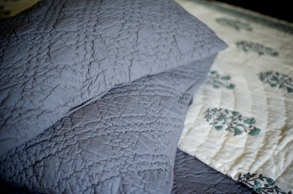 Nottingham, Hand Quilted Diamond Pattern Grey Quilt 98x92 Inches, Queen Size