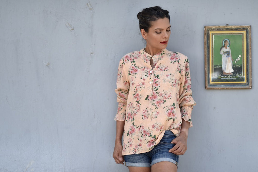 Colima Pink, Hand Made Organic Linen Front Open Blouse in Floral Print - kinchecom