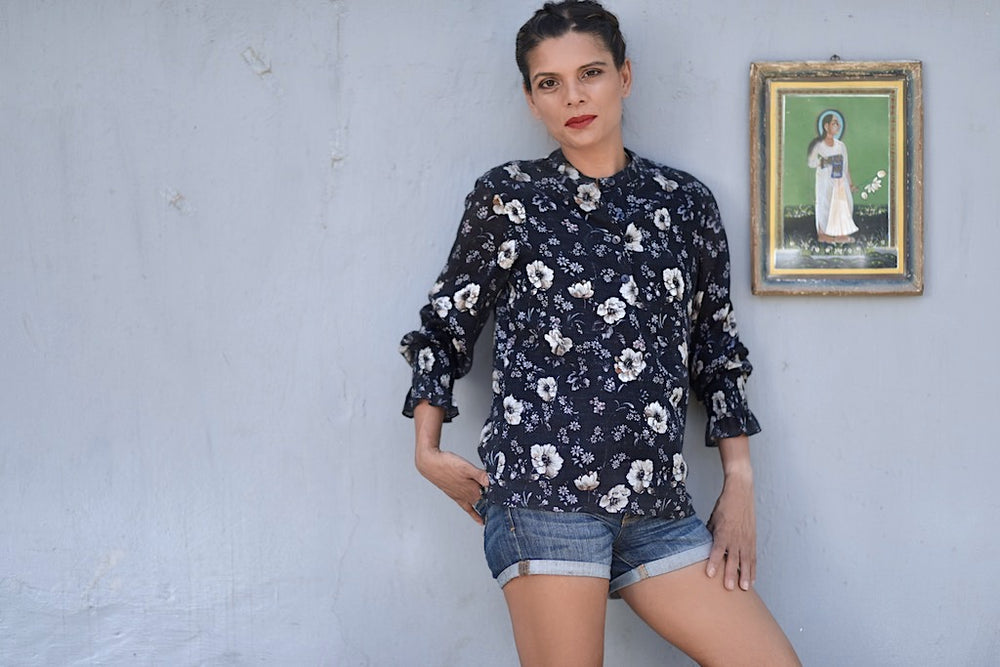 Colima Navy, Hand Made Organic Linen Front Open Blouse in Floral Print - kinchecom