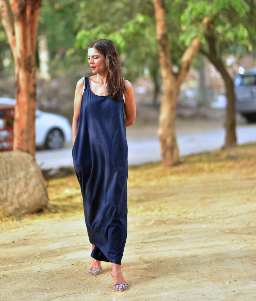Moscow, Organic Cotton Maxi Dress in navy Blue, Embroidered at Shoulder - kinchecom