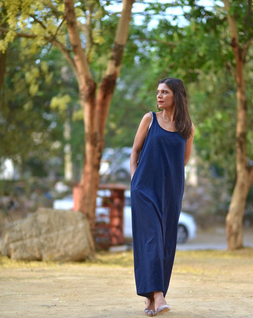 Moscow, Organic Cotton Maxi Dress in navy Blue, Embroidered at Shoulder - shopkaito