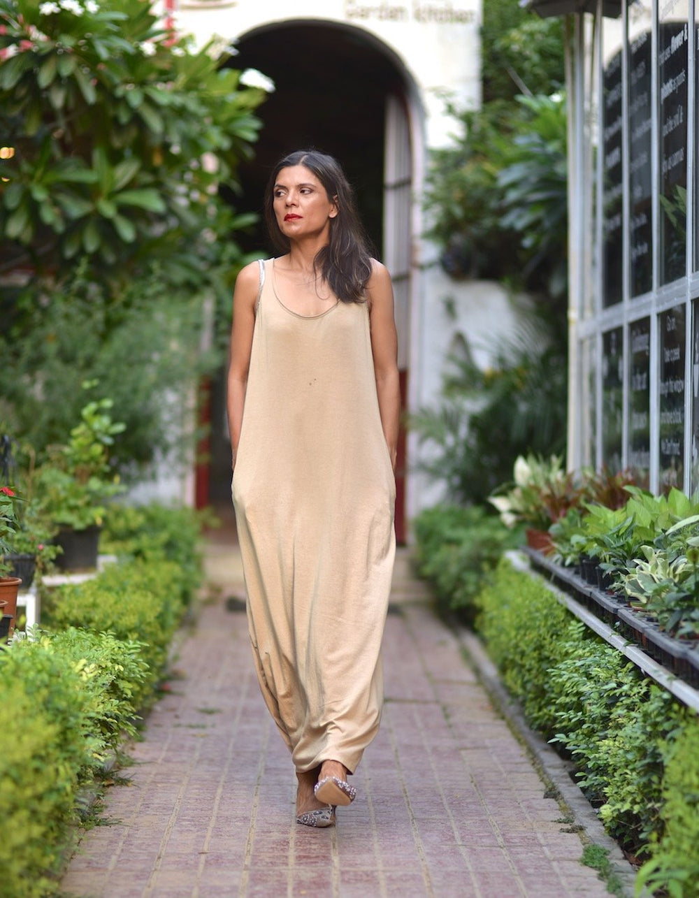 Moscow, Organic Cotton Jersey Maxi Dress in Beige, Embroidered at Shoulder - shopkaito