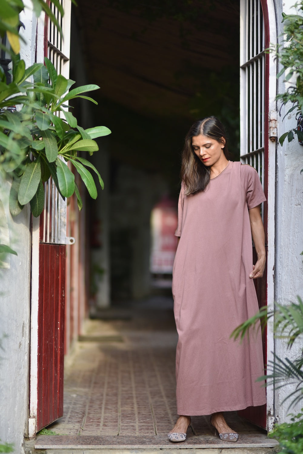 Sofia, Organic Cotton Jersey Maxi Dress in Dusty Rose, Embroidered at Shoulder - kinchecom