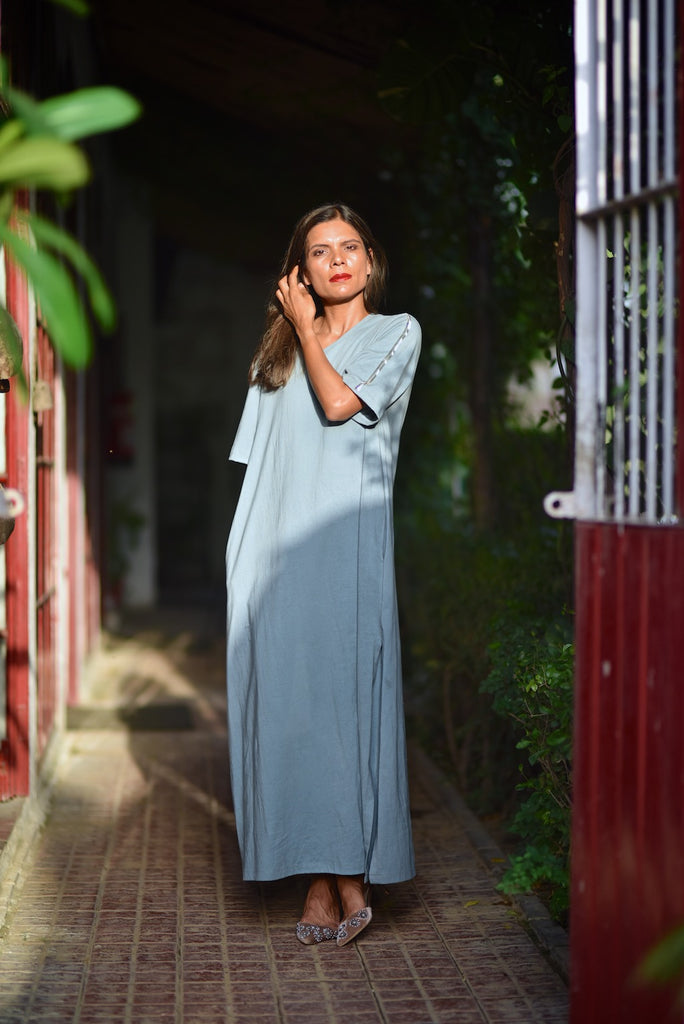 Sofia, Organic Cotton Jersey Maxi Dress in Dusty Blue, Embroidered at Shoulder - kinchecom