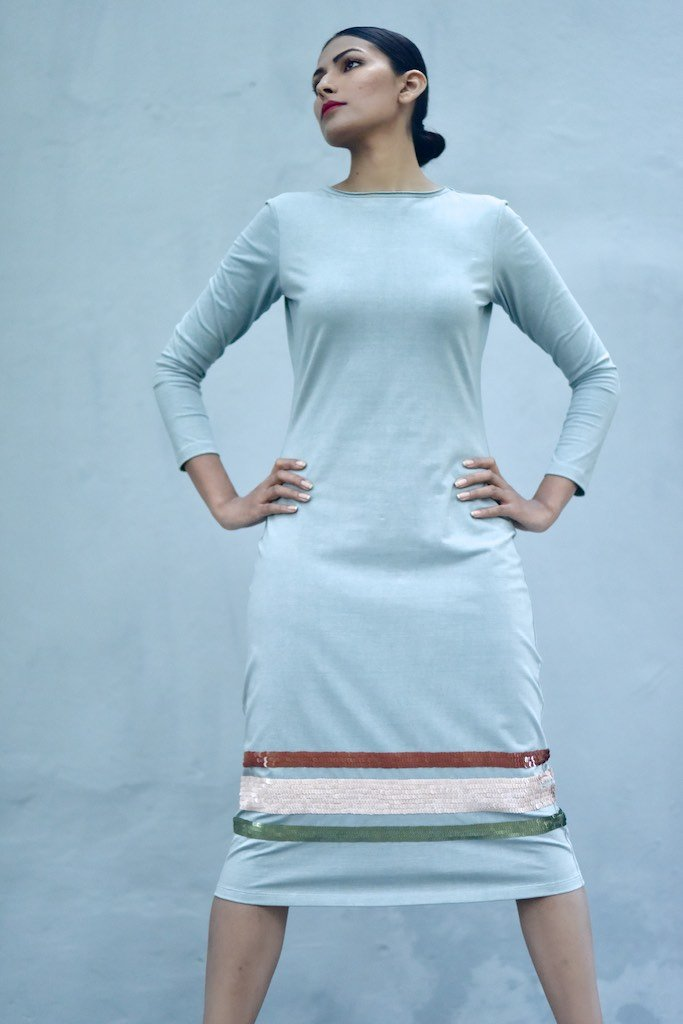 Singapore, Organic Cotton Jersey Long Dress with Sequins Work in Blue - kinchecom