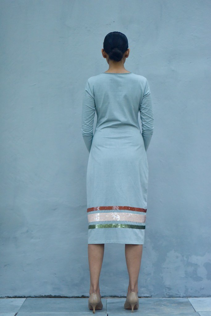 Singapore, Organic Cotton Jersey Long Dress with Sequins Work in Blue - shopkaito