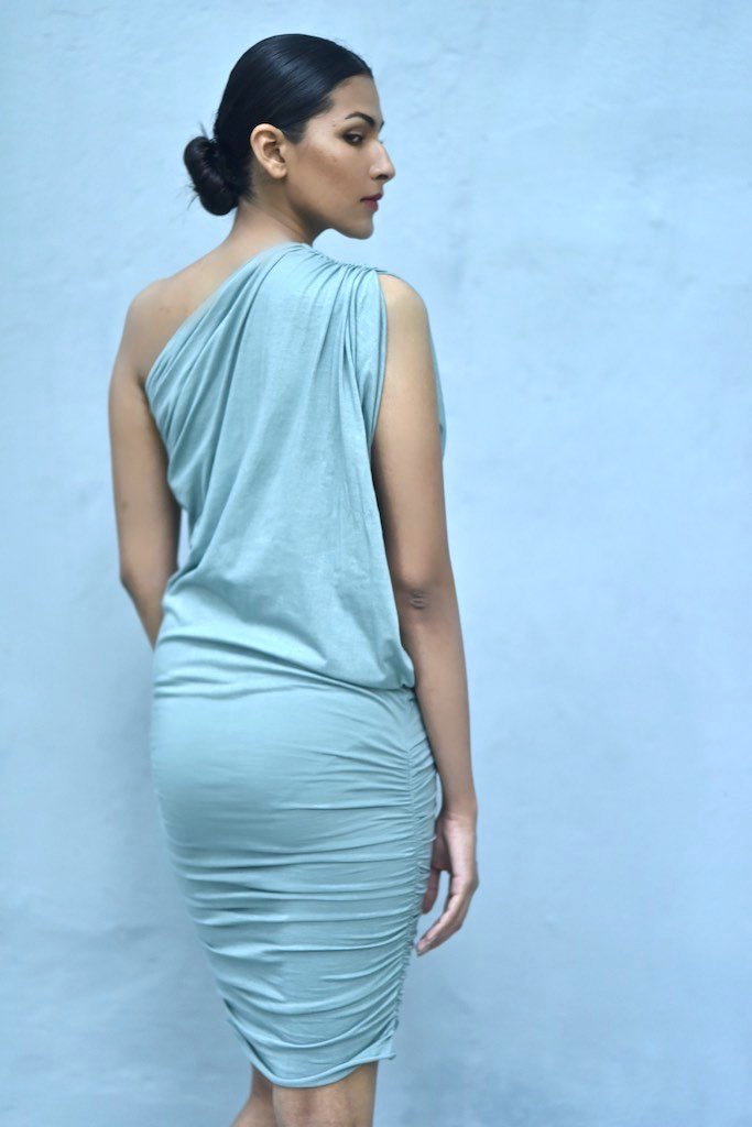 Syria, Dusty Blue Organic Cotton Lycra, Cold Shoulder Embroidered Evening Dress - shopkaito