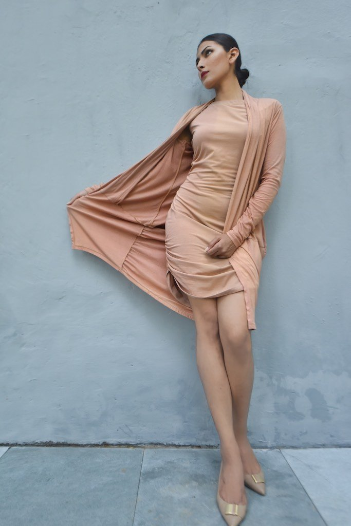 Taipei, Organic Cotton Jersey Long Dress with Long Shrug, Loose Fit - kinchecom